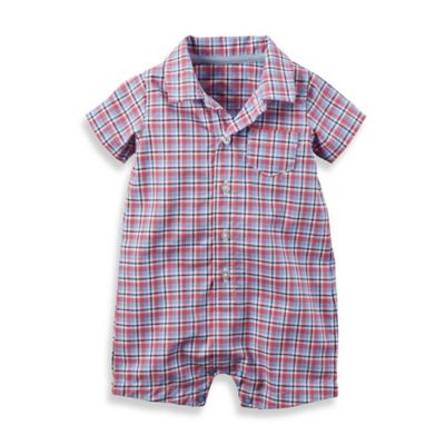 carter's® Size 12M Button-Front Plaid Romper in Red