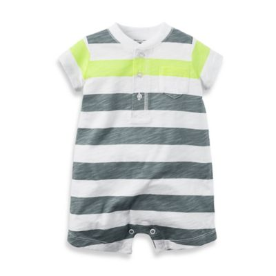 carter's® Size 3M Stripe Romper in Grey/Neon