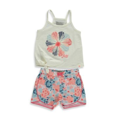 Lucky® Size 12M 2-Piece Side Tie Floral Tank and Short Set in White/Multicolor