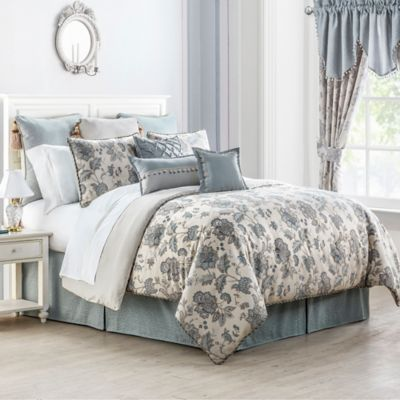 Waterford® Linens Valerie Reversible Queen Comforter Set in Sea Blue/Ivory