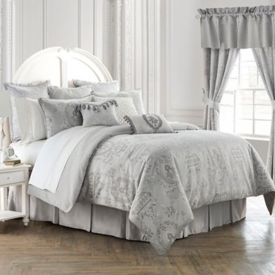 Waterford® Linens Whitney Reversible Queen Comforter Set in Platinum