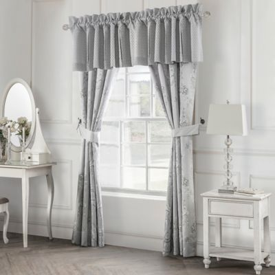 Waterford® Linens Whitney 21-Inch Box Pleat Window Valance in Platinum