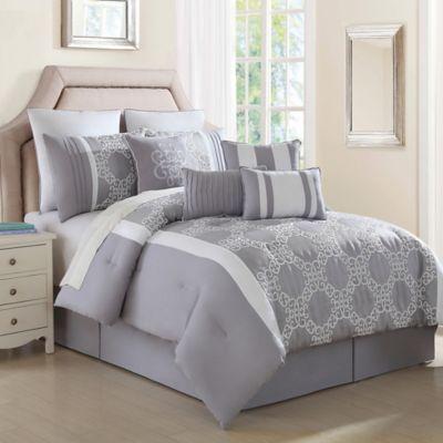 Lemiuex 10-Piece California King Comforter Set in Grey/White