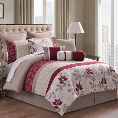 Eve 10-Piece King Comforter Set in Red/Taupe
