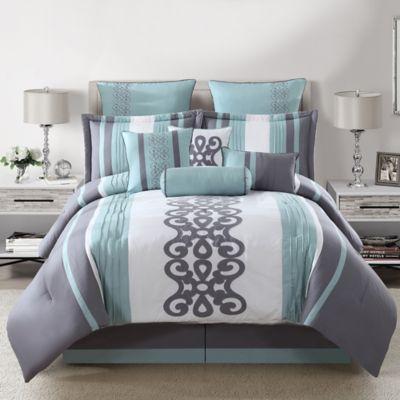 Kerri 10-Piece Queen Comforter Set in Teal/Silver/White