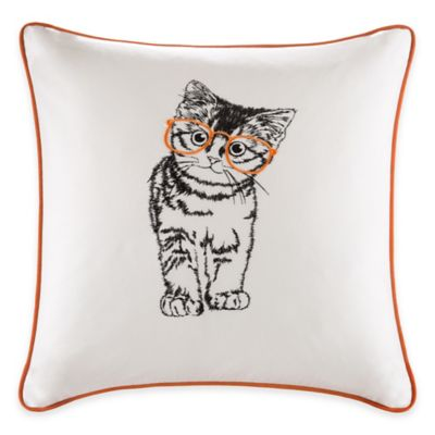 Madison Park HipStyle Cat Square Pillow in Orange