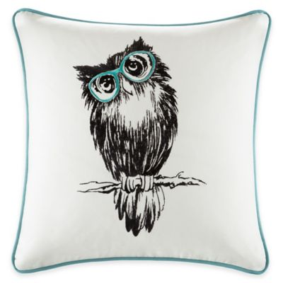 Madison Park HipStyle Owl Square Pillow in Aqua