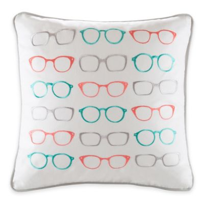 Madison Park Hipstyle Glasses Embroidered Square Throw Pillow