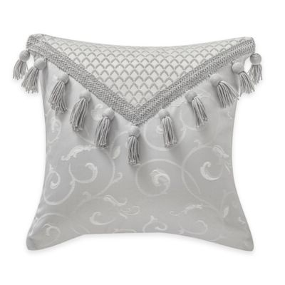 Waterford® Linens Whitney Tassel Square Throw Pillow in Platinum