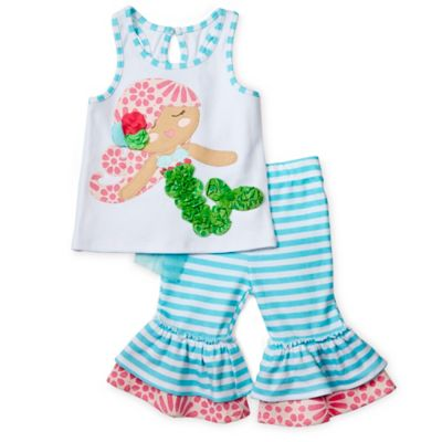 Mud Pie® Size 12M Mermaid 2-Piece 3D Top and Flounced Capri Set in White/Turquoise