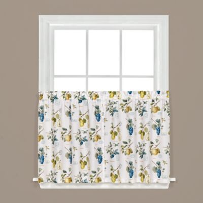 Botanical Fruit 24-Inch Kitchen Window Curtain Tiers in White