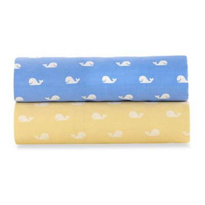 Beach Hut Whales 300-Thread-Count Standard Pillowcases in Yellow (Set of 2)