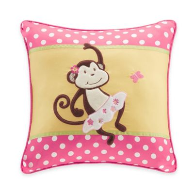 Kids Plush Monkey Square Pillow in Pink/Yellow
