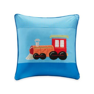Mi Zone Kids Totally Transit Plush Train Applique Square Throw Pillow