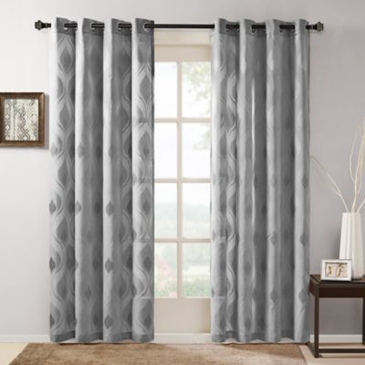 Madison Park Adele 84-Inch Grommet Top Window Curtain Panel in Grey