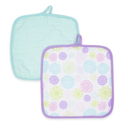MiracleWare Bursts Muslin 2-Pack Baby Washcloth Set