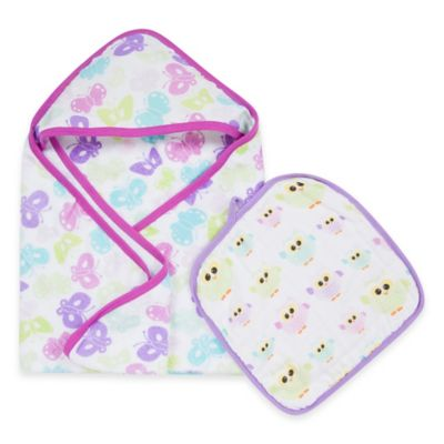 MiracleWare Butterfly & Owl Muslin Hooded Towel & Washcloth Set