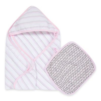 MiracleWare Muslin Hooded Towel & Washcloth Set in Pink and Grey