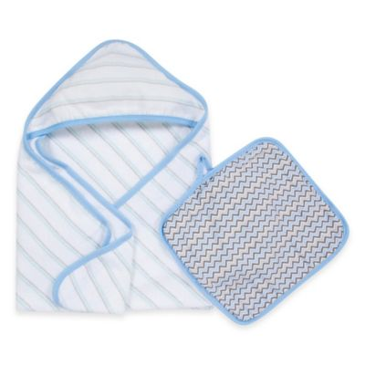 MiracleWare Muslin Hooded Towel & Washcloth Set in Blue & Grey