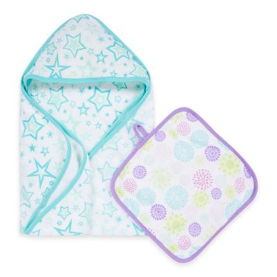MiracleWare Colorful Bursts Muslin Hooded Towel & Washcloth Set