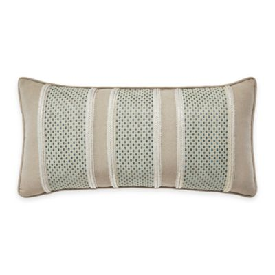 Croscill® Marietta Striped Oblong Throw Pillow in Blue/Ivory