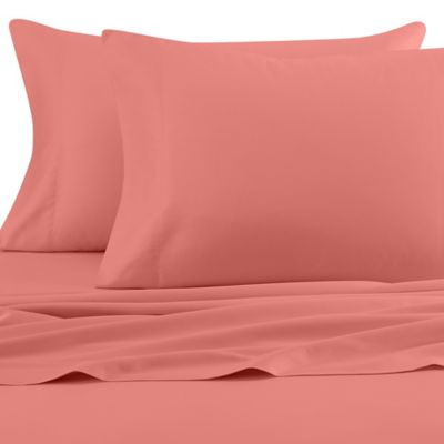 Beach Hut 300-Thread-Count Queen Sheet Set in Coral