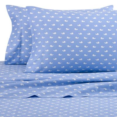 Beach Hut Whales 300-Thread-Count Full Sheet Set in Blue