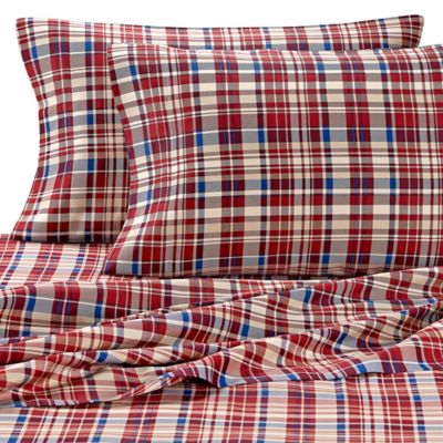 Lakeside Living Plaid Twin Sheet Set in Red