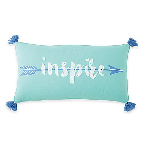 Buy Brooke Inspire Oblong Throw Pillow in White/Blue from Bed Bath & Beyond