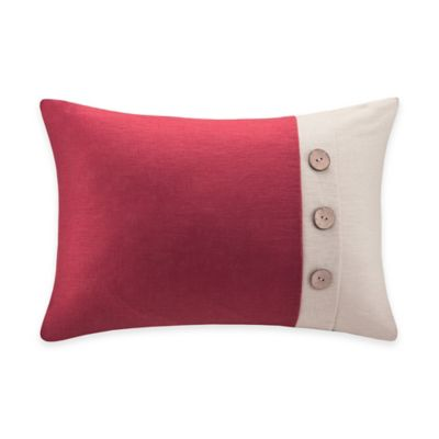 Madison Park Linen Oblong Throw Pillow with Wooden Button in Red
