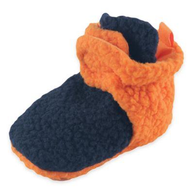 BabyVision® Luvable Friends™ Size 6-12M Scooties Fleece Booties in Orange/Navy