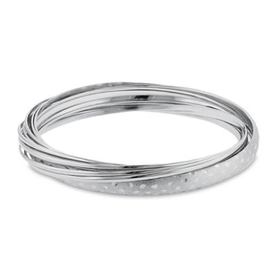 Sterling Silver Mirrored Diamond-Cut Roll-On Bangle Bracelet