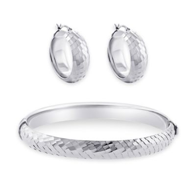 Sterling Silver Disco Diamond-Cut Bangle Bracelet and Huggie Hoop Earring Set