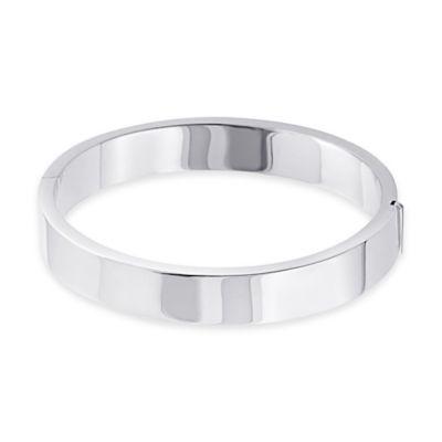 Sterling Silver Wide Rectangular Tube Hinged Bangle Bracelet