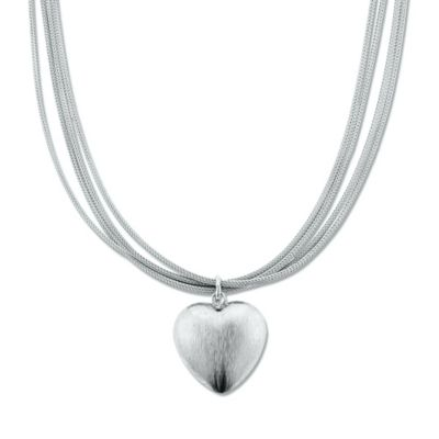 Sterling Silver Brushed Heart Charm 18-Inch Chain Multi-Strand Necklace