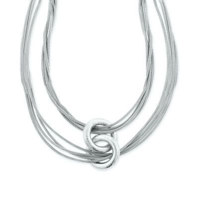 Sterling Silver Interlocking Polished Ring 18-Inch Chain Mesh Multi-Strand Necklace