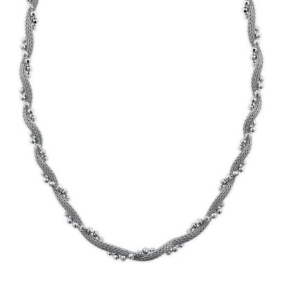 Sterling Silver Twisted Woven Mesh and Bead 18-Inch Chain Multi-Strand Necklace