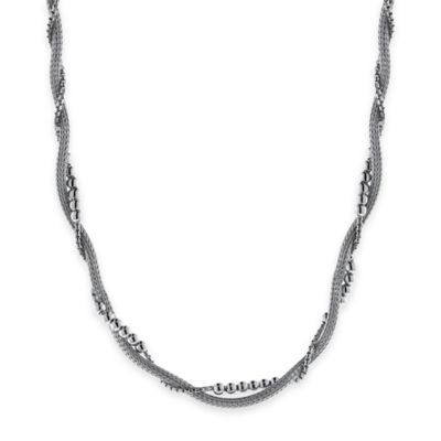 Sterling Silver Twisted Woven Mesh and Polished Bead 18-Inch Chain Multi-Strand Necklace
