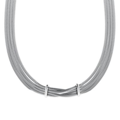 Sterling Silver Double Bar Open Diamond 18-Inch Chain Mesh Multi-Strand Necklace