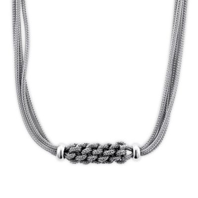 Sterling Silver Braided-Accent 18-Inch Chain Mesh Multi-Strand Necklace