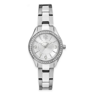 Timex® Miami Mini Ladies' 30mm Crystal-Accented Round Watch in Silvertone Stainless Steel