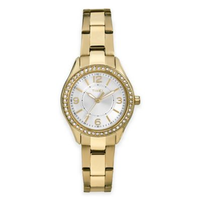 Timex® Miami Mini Ladies' 30mm Crystal-Accented Round Watch in Goldtone Stainless Steel