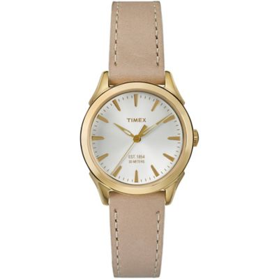 Timex® Chesapeake Ladies' 29mm Round Watch in Goldtone Stainless Steel with Tan Leather Strap