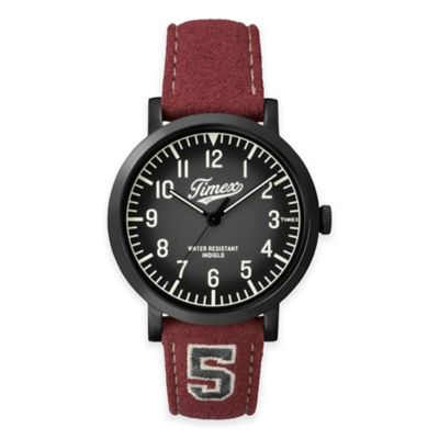 Timex® Originals Men's 42mm University Watch in Black Brass with Red Leather Strap