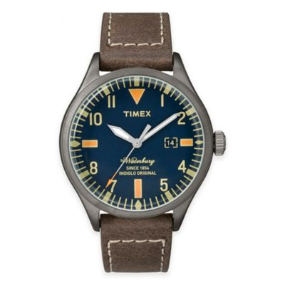 Timex® Heritage Men's 40mm Waterbury Blue Dial Watch in Stainless Steel w/Brown Leather Strap