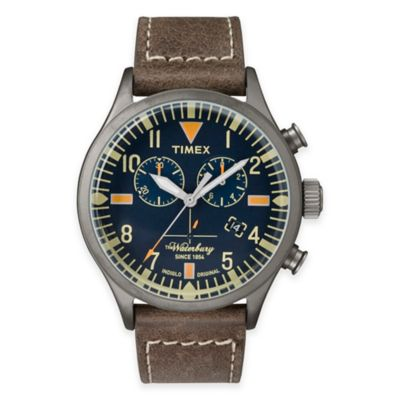 Timex® Heritage Men's 42mm Waterbury Chronograph Watch in Stainless Steel w/Brown Leather Strap