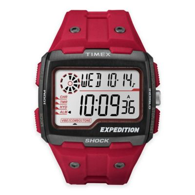 Timex® Expedition Men's 50mm Grid Shock Watch in Black Stainless Steel w/Red Silicone Band