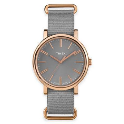 Timex® Originals Ladies' 38mm Tonal Round Watch in Rose Goldtone Brass with Grey Nylon Strap