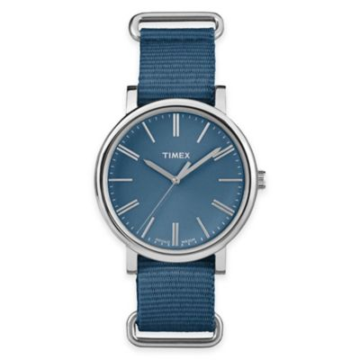 Blue Silver Round Watch