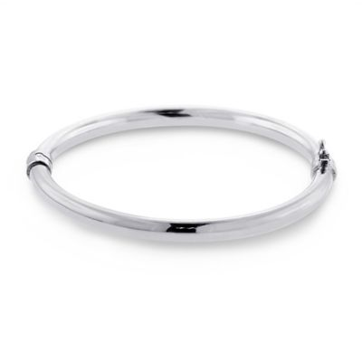 Sterling Silver 5mm Oval Tube Hinged Bangle Bracelet